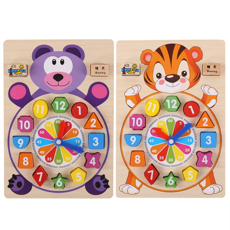 Baby toys wooden blocks clock geometric shapes numbers pairing Montessori board game children early education cognitive toy gift