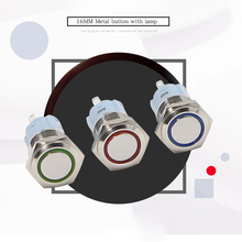 16mm Push Button Switch LED Metal Self Reset Waterproof Flat Head Momentary Car Power Button Switch 12V 24V 220V new 12v led momentary horn button metal switch 16mm push button lighted switch s018y high quality