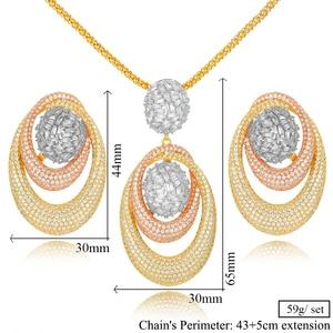 Image 5 - GODKI New Luxury Exclusive Circle Necklace Earring Sets For Women Wedding Bridal Cubic ZirconDubai High End Jewelry Set 2019