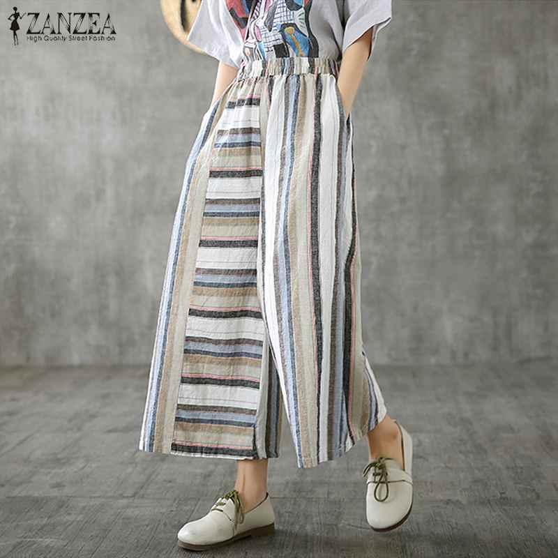 ZANZEA Donne Più di Formato Pantaloni Diritti Casual Pantaloni A Righe di Cotone di Tela Pantalones Mujer Dell'annata di Autunno Streetwear Pantaloni Della Tuta