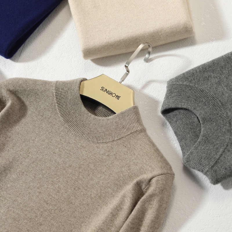 남자에 대 한 절반 높은 목 스웨터 소프트 100% 캐시미어 니트 풀 오버 2019 겨울 새로운 패션 남성 점퍼 옷