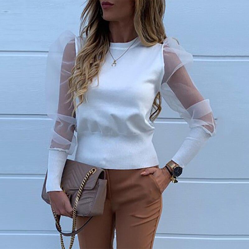 Casual Mesh Sheer Blouse Ladies Autumn Long Sleeve Sexy White Black Tops 2020 See Through Shirt Blouses Polka Dot Print Blusa