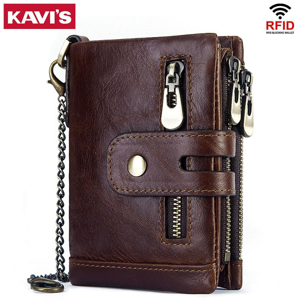 Kavis rfid genuíno couro de vaca carteira masculina cuzdan carteira homem portomonee pequeno min walet bolso moda ferrolho