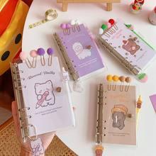Sharkbang nova chegada kawaii 100 folha a6 loose-leaf diário agenda caderno planejador com caneta adesivo clipe e conjunto pendente presente