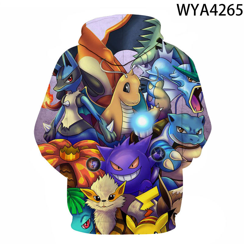 2020 Spring And Autumn Men's And Women's Hoodies Fashion Pokemon Kids 3d Printing Cartoon Anime Sweatshirt Pullover Coat 2