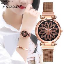 Women Simple Bracelet Watch Lucky Flower Rotating Dial Quartz Clock Lady Luxury Rose Gold Magnetic Mesh reloj mujer