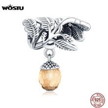 WOSTU Lucky szyszka Charm 925 srebro brązowy cyrkon koralik Fit oryginalna bransoletka naszyjnik 2020 nowy projekt biżuteria CTC336