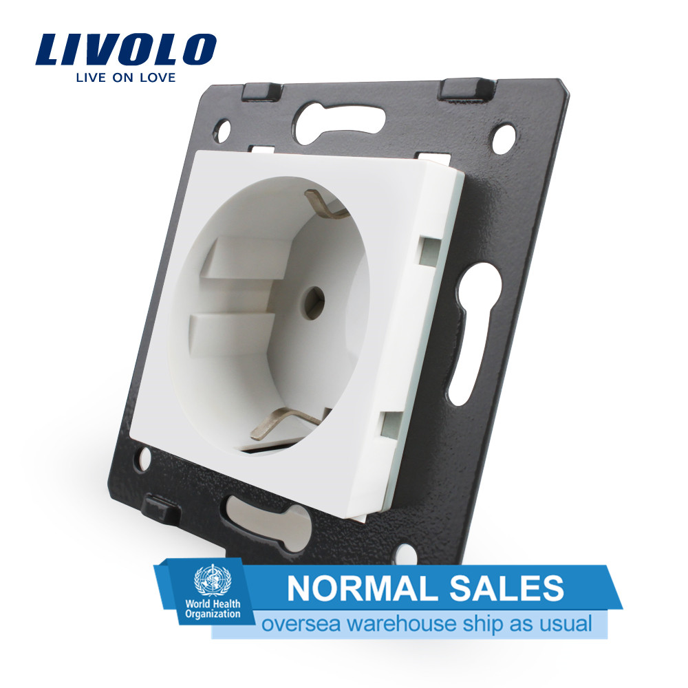 Livolo Socket DIY Parts, White Plastic Materials, EU Standard, Function Key For EU  Wall Socket, VL-C7-C1EU-11