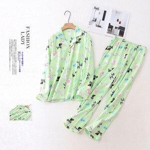 Image 3 - 100% Cotton Pyjamas Women Pajamas Sets Autumn Brushed Winter Warm Cute Cartoon Sleepwear Pijamas Mujer Pyjamas Womens Clothing