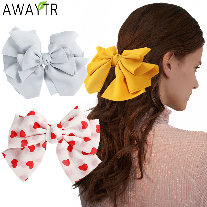 AWAYTR Big Hair Bow Ties Hair Clips Satin Two Layer Butterfly Bow Barrettes Girl Hair Accessories For Women Bowknot Hairpins