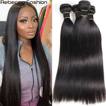 Rebecca Fashion Pre-Colored Peruvian Straight Hair Weave 1/3/4 Bundles Human Hair Bundles Deal 300g Hair Extensions Non-Remy image
