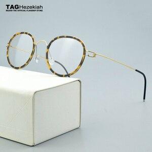 Оправа для очков, титановая оправа, без винтов, ручная работа, ретро очки, мужские и женские круглые очки, 2020
