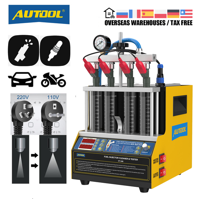 AUTOOL CT160 רכב דלק מזרק חימום ניקוי Tester מכונת קולי מנקה אופנועים מצת Cleanning 220V 110V
