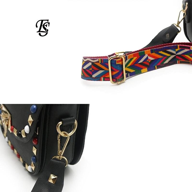 Image 5 - E.SHUNFA Pu Leather Shoulder Bag For Women Black Small Bag  Crossbody Bag Color Shoulder Strap Luxury Bag Women Bag  DesignerShoulder Bags