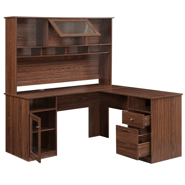 Home Office L-Shaped Desk With Hutch And Glass Doors 1