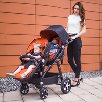 Twin baby stroller double stroller can lift the sleeping basket to sit and lay lightly folded