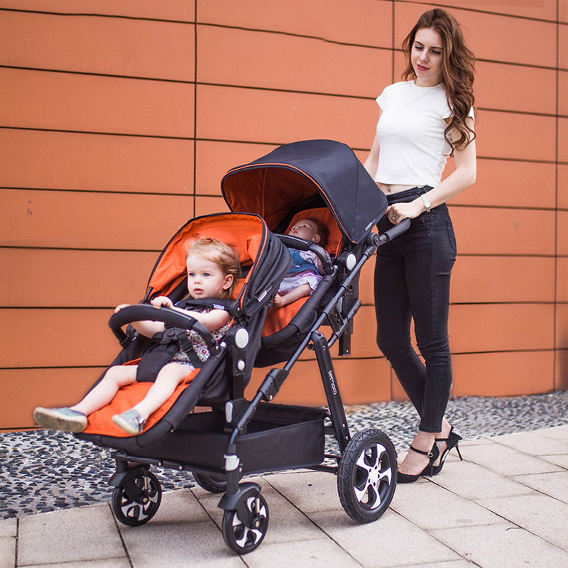 Twin baby stroller double stroller can lift the sleeping basket to sit and lay lightly folded image