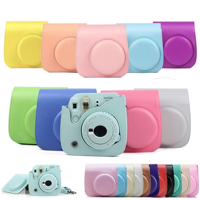 Kaliteli PU deri kamera çantası Fujifilm Instax Mini 9 Mini 8 anında Film kamera, 5 renkler koruyucu çanta omuz askısı ile