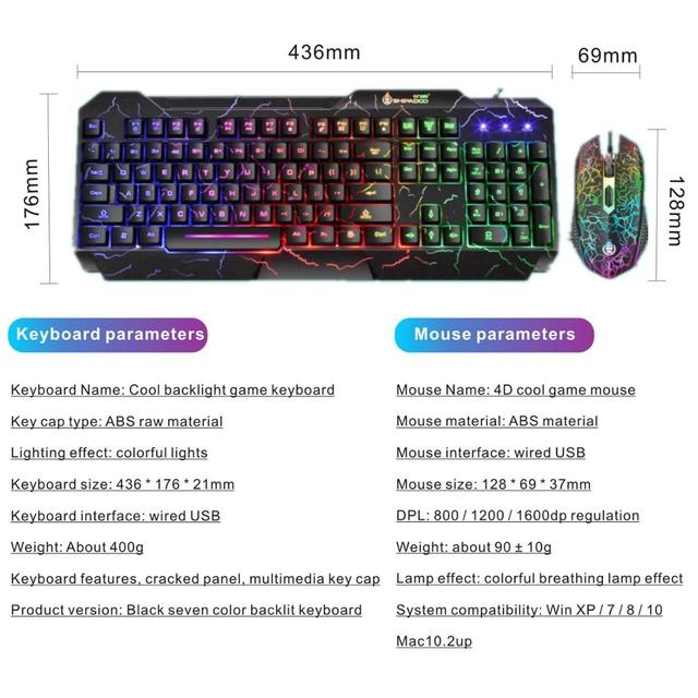 LED Luminous Gaming Keyboard Mouse Combos USB Wired Gamer Kit Backlight Waterproof Multi-Media Keyboard And Mouse Set For PC 6