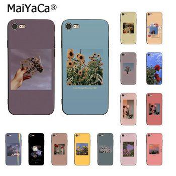 MaiYaCa rojo amarillo Rosa flor estético teléfono accesorios caso para iPhone 11 Pro XS MAX XS XR 8 7 6 Plus 5 5S SE