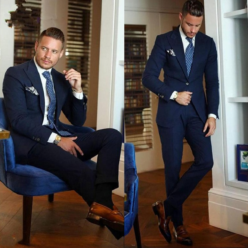 Classic Peak Lapel Wedding Tuxedos Slim Fit Suits For Men Groomsmen Suit Two Pieces Prom Formal Suits (Jacket+Pants)
