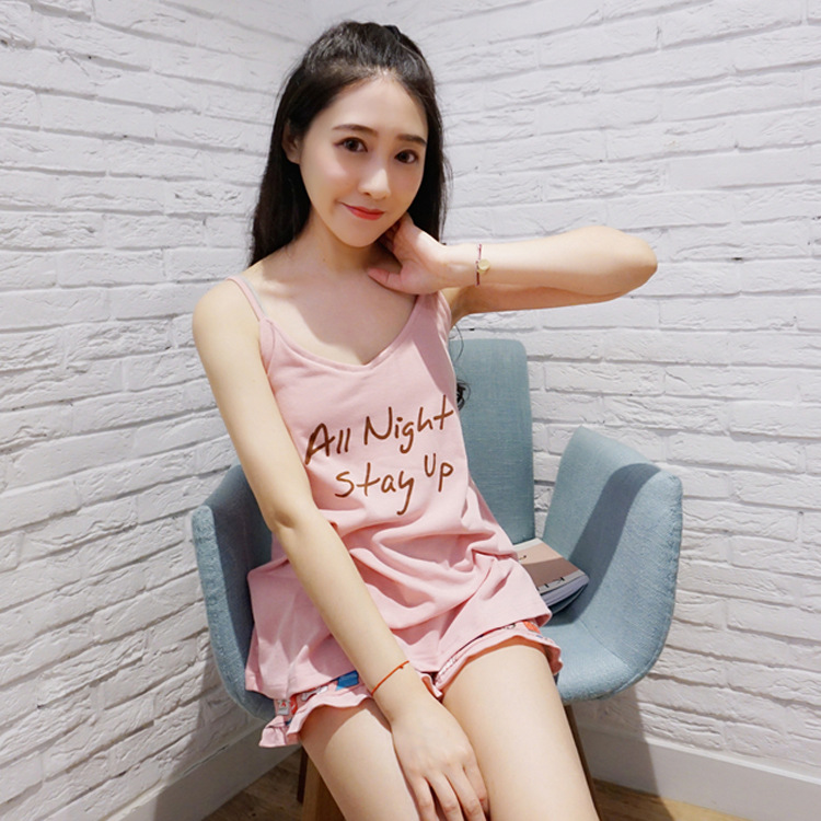 Korean-style Summer Adjustable Camisole Shorts WOMEN'S Suit Japanese-style Pajamas Wear Free Bra With Chest Pad Home Wear
