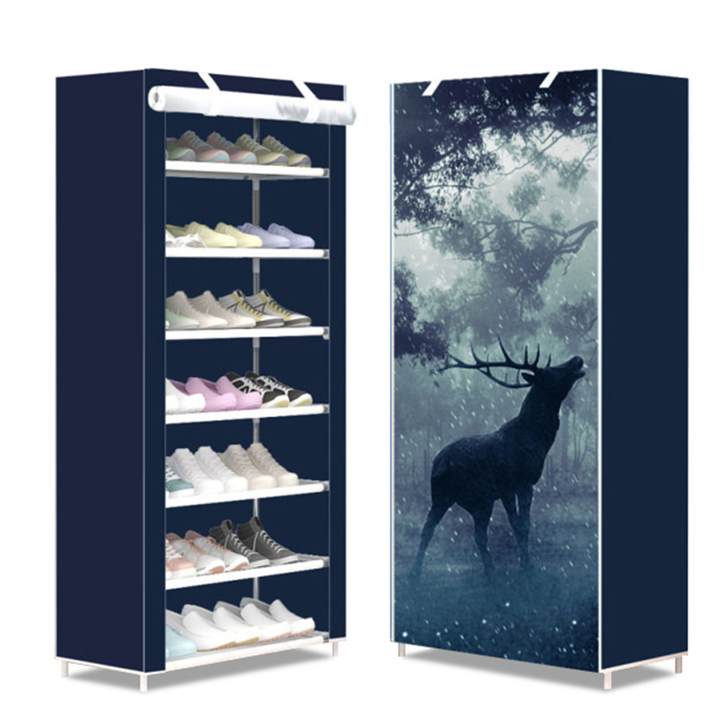 7 Layers Simple Shoe Cabinet Standing Dormitory Home Assembled Dustproof Shoes Storage Rack Hallway Space-Saving Shoe Organizer