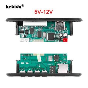 Kebidu sem fio bluetooth 5.0 12v carro mp3 wma decodificador placa 3.75v 5v módulo de áudio usb aux tf fm rádio módulo 2*3w amplificador