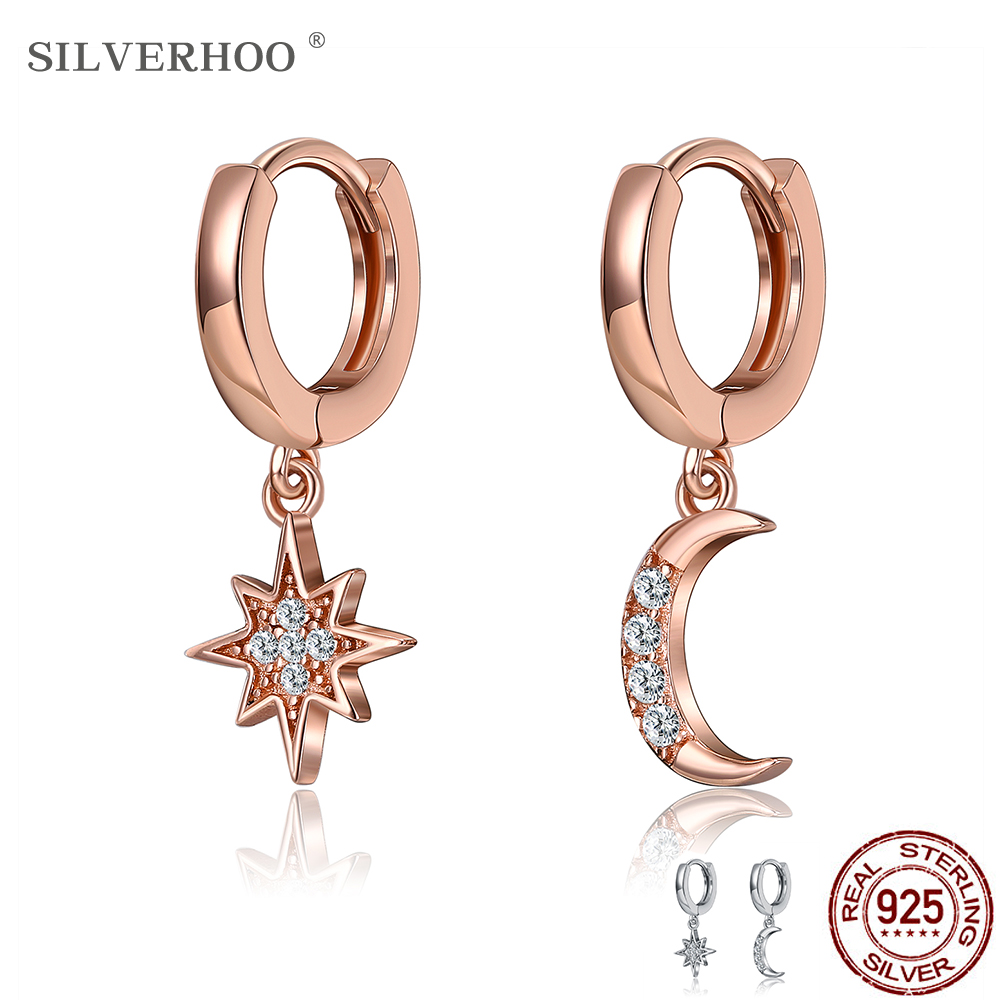 SILVERHOO Classic Geometric Women Dangle Earrings Asymmetric Earrings Star and Moon Female Korean Silver 925 Jewelry New Arrival