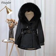 Windbreaker Coat Down-Parka Hooded Fitaylor Snow Real-Fur-Collar 90%White-Duck-Down Winter Women
