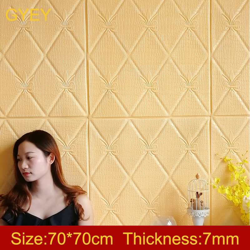 Self Adhesive 3D Brick Wall Stickers Living Waterproof Foam Room Bedroom DIY Adhesive Wallpaper Art 70*70*0.7cm Home Wall Decals