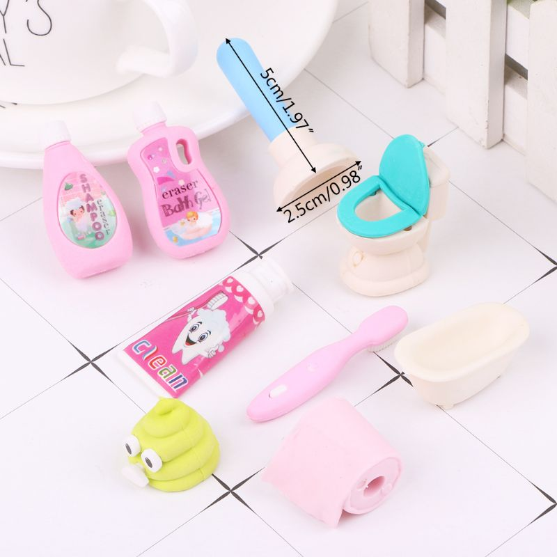 1 Set Kawaii Bathroom Erasers Tissue Closestool Bathtub Shampoo Rubber Pencil Eraser Stationery For Kids Students Gifts LX9A