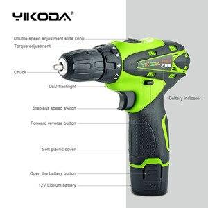 Image 2 - YIKODA 12v perceuse électrique sans fil batterie tournevis électrique Rechargeable avec un paquet de Carton doutils électriques de batterie au Lithium