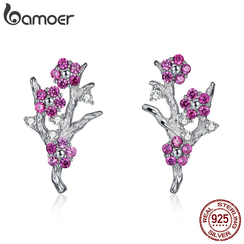 BAMOER New Collection 925 Sterling Silver Wintersweet Blooming Plum Flower Stud Earrings Women Silver Jewelry Gift BSE040