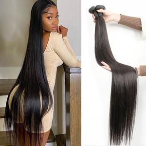 Человеческие волосы пряди с прямыми 30 32 40 дюймов Пряди бразильских волос Плетение кости прямые человеческие волосы для наращивания из нату...