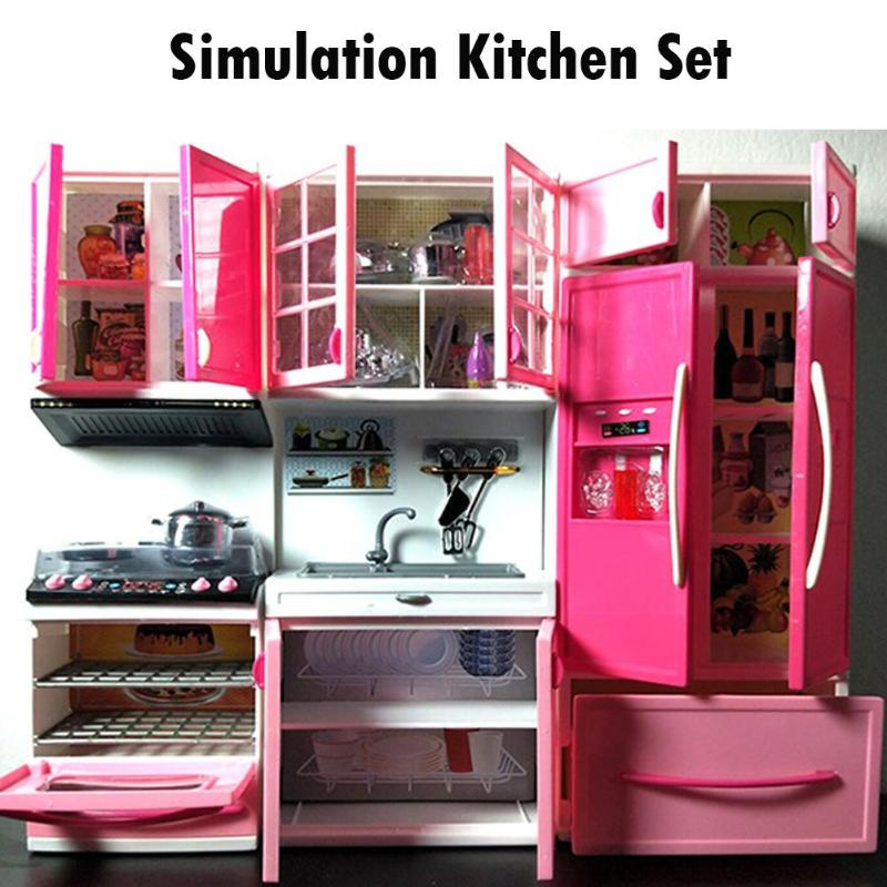 Simulation Kitchen Cabinets Set Children Pretend Play Cooking Tools Mini Dolls Tableware Suits Toys Girls Dollhouse Play Toy Gif-2