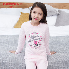 THREEGUN KIDS X Disney Minnie Mouse Long Thermal Underwear Kids Winter Soft Johns Girls O-Neck sleepwear
