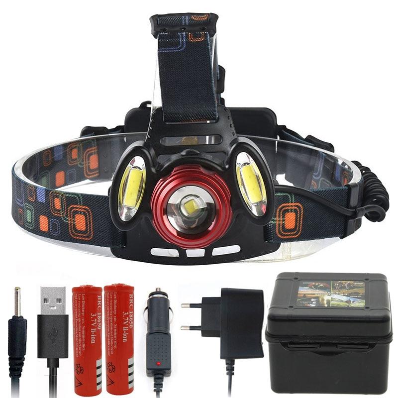 Litwod Z402305 XM-L T6 +2*COB LED Headlamp Head Lamp Light Use 2*18650 Battery 5000 Lumen Fishing Lamp Head Flashlight