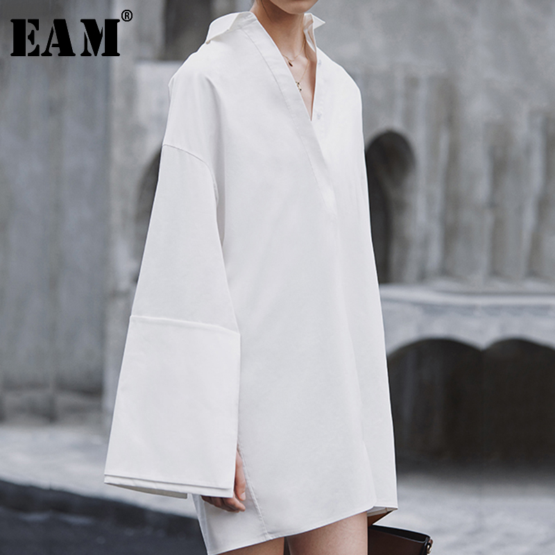 [EAM] 2020 New Spring Autumn Turn-down Collar Long Sleeve Spliced Loose big size Temperament Dress Women Blouse Fashion JX816