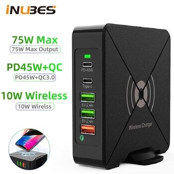 75W PD USB ładowarka stacja dokująca typu C bezprzewodowa ładowarka samochodowa do iPhone 12 szybka ładowarka QC 3.0 szybkie ładowarek ściennych 5 pulpit portu piasty