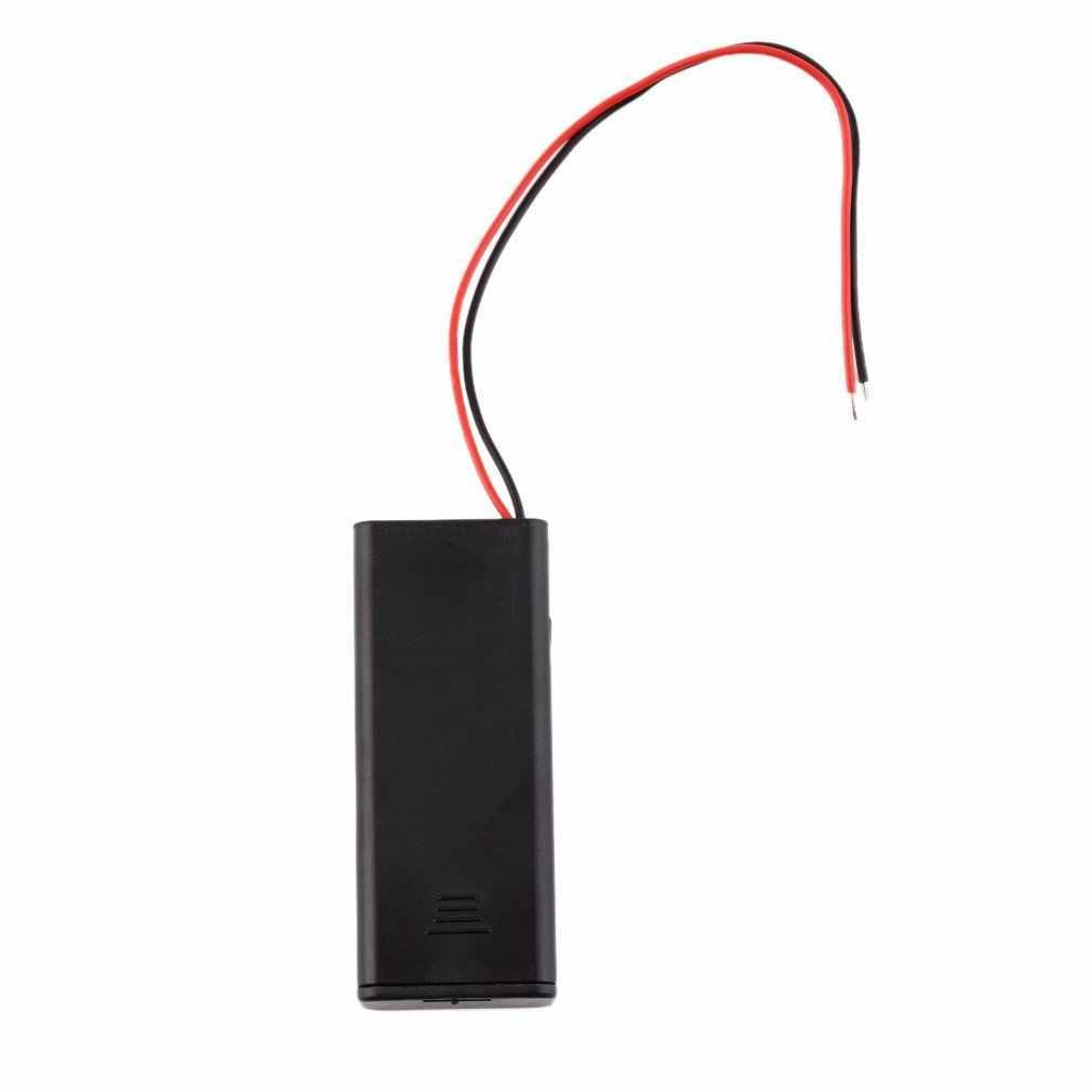 2 * soporte de caja de almacenamiento de batería AAA para 2 uds pilas AAA con interruptor de encendido/apagado y cables NEGRO venta al por mayor Digital caliente