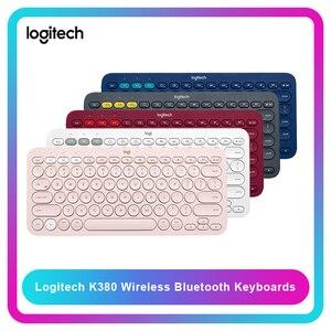 Image 1 - Logitech k380 multi dispositivo bluetooth linha de teclado sem fio amigos rosa preto multi cores windows macos android ios chrome os