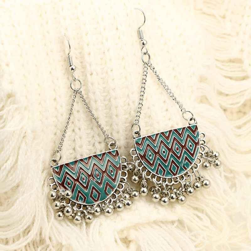 אתני Kundan Jhumka Jhumki זרוק מתנדנד עגילי נשים צוענית תכשיטים כבל