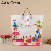 100Pcs/Lot Beautiful Gift Bags Plastic Pouches Shopping Gift Package Bag Handle Birthday Wedding Party Clothes Shoes Supermarket