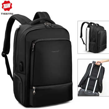Water Repellent  Nylon Anti theft 22L  Men 15.6 inch Laptop Backpack USB Recharging Travel Male Mochila Solid Schoolbag For Boy - DISCOUNT ITEM  48% OFF All Category