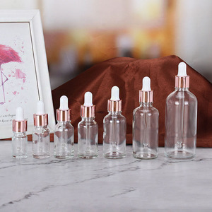 5-100ML Tubes Transparent Dropper Glass Rose Gold Cover Aromatherapy Liquid for Essential Massage Oil Pipette Refillable Bottles