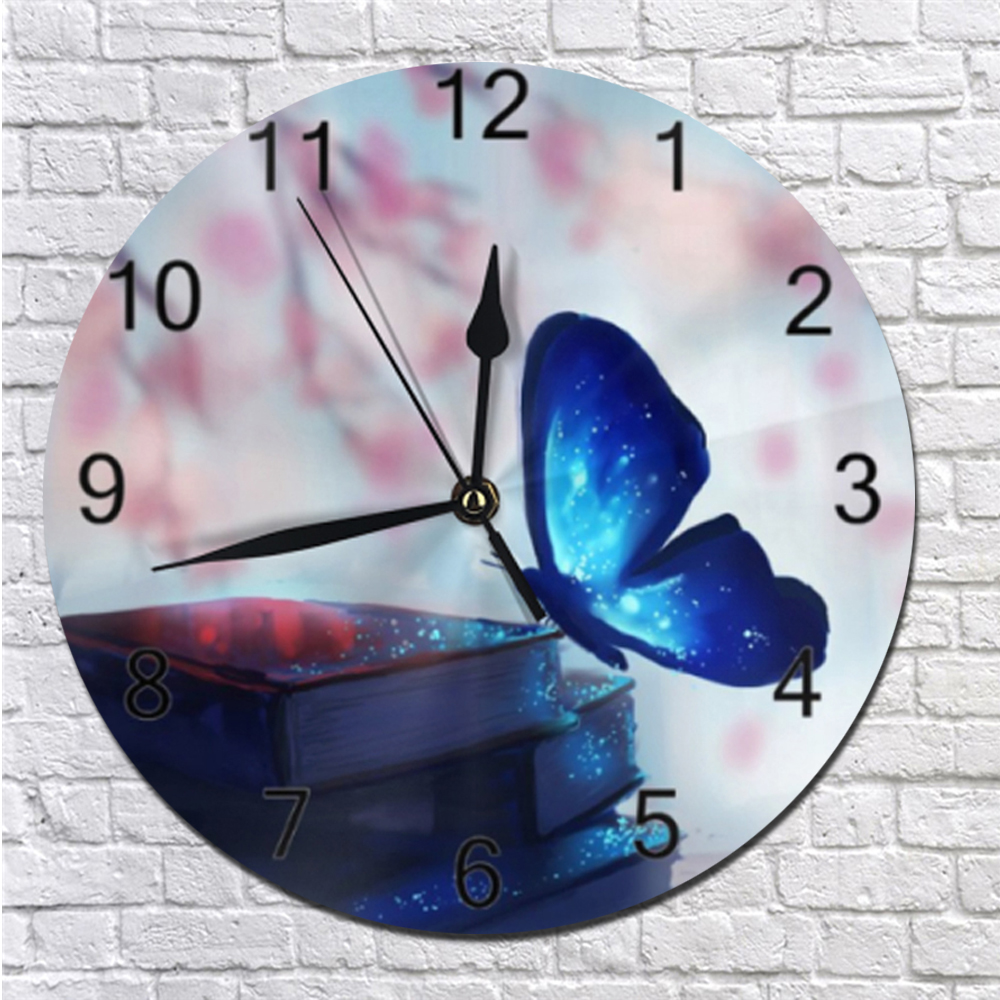 Butterflies Pattern Silent Wall Clocks Numeral Digital Dial Mute Silent Non-Ticking Electronic Quartz Clocks Wall For Kitchen