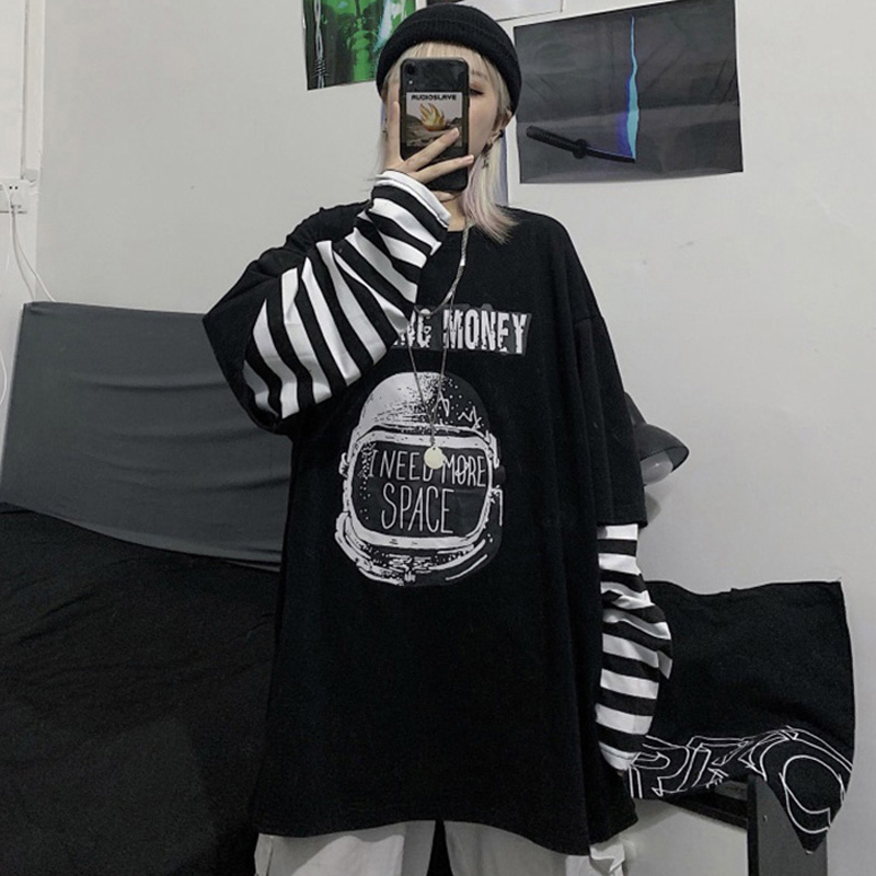 Autumn Tshirt Casual Letter Print O-Neck Stripe Tees Harajuku Loose T-Shirts Women Long Sleeve Oversize Tops Hip Hop Streetwear