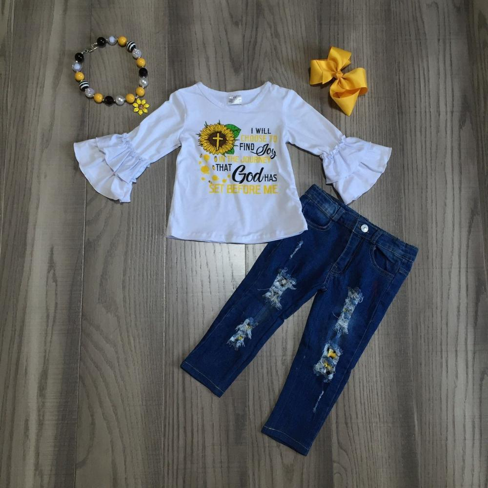 Baby Girl Clothes Girls Fall Winter Outfits Sunflower T Shirt Top