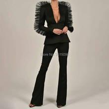 new popular Pants suit Womens Business Suits 2 Piece Set Formal Pant Suits Weddings Tuxedo Female Uniform Ladies Formal Suits